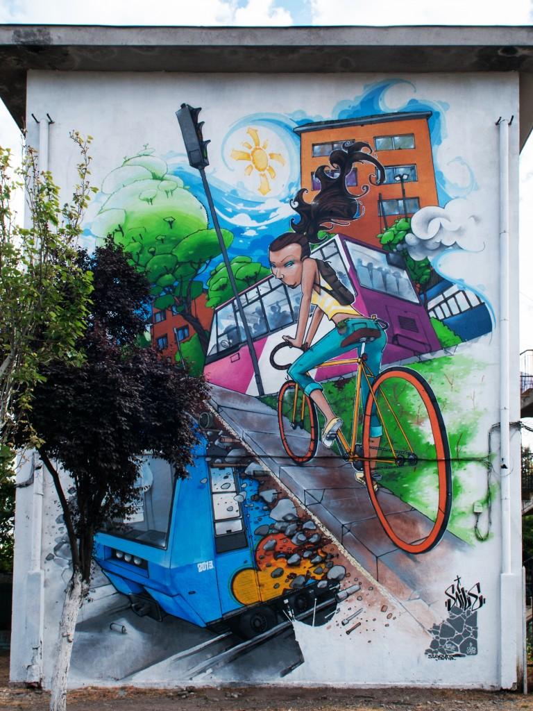 Fixie museo a cielo abierto en san miguel for Mural metro u de chile